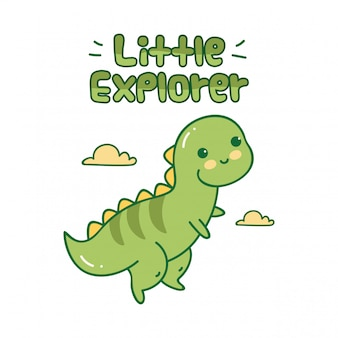 Design carino con piccolo dinosauro