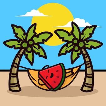 Design carino mascotte di vacanza estiva di anguria