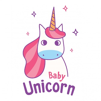 Design carino t shirt con slogan e kawaii unicorno