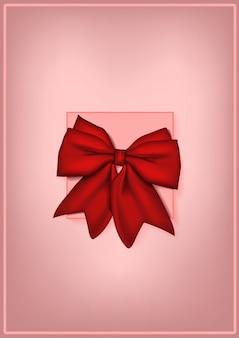 Design cartolina mock up con fiocco rosso