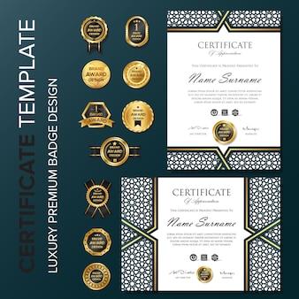 Design certificato creativo con badge