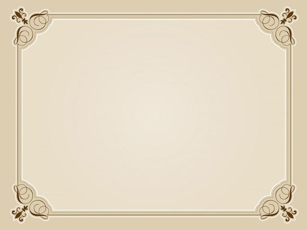 Design certificato in bianco decorativo in tonalità seppia