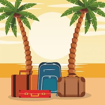 Design colorato da spiaggia con valigie e palme da viaggio
