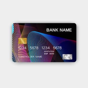 Design colorato della carta di credito. con ispirazione dall'estratto.