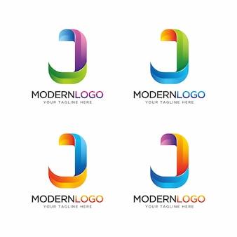 Design colorato logo lettera j.