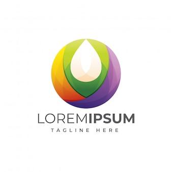 Design colorato logo olio d'oliva o goccia d'acqua