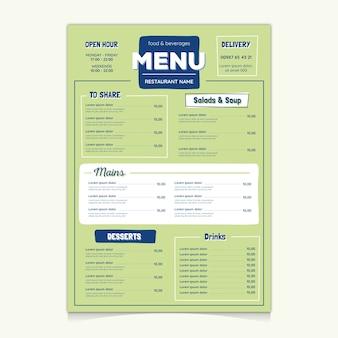 Design colorato modello di menu del ristorante
