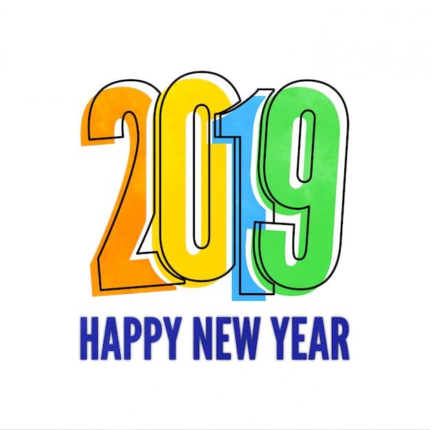 Design colorato nuovo anno 2019 con sfondo bianco