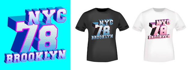 Design con stampa t-shirt brooklyn 78 nyc