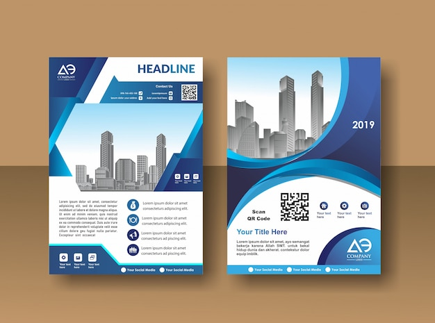Design copertina poster a4 catalogo libro brochure flyer layout annuale modello di business report