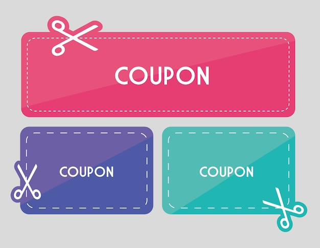 Design coupon icona di vendita. concetto di acquisto