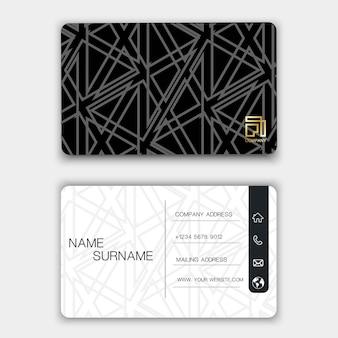 Design creativo biglietto da visita sullo sfondo grigio.
