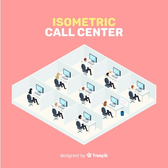 Design creativo call center isometrico