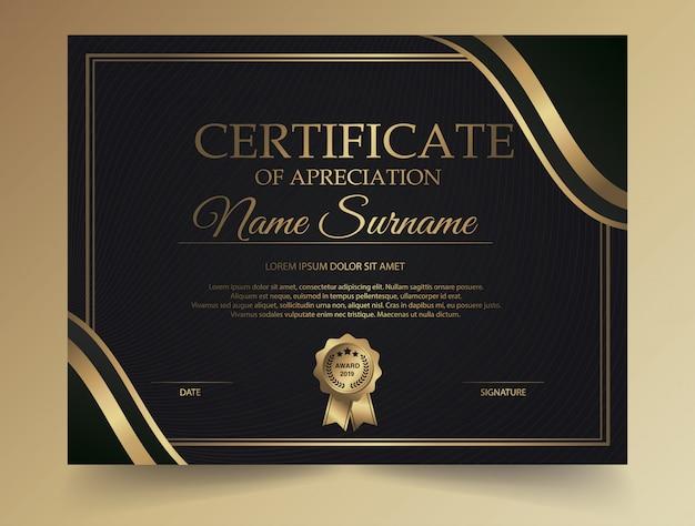 Design creativo certificato diploma scuro con simbolo del premio