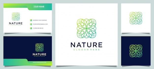Design creativo del logo del fiore moderno con stile artistico e biglietto da visita