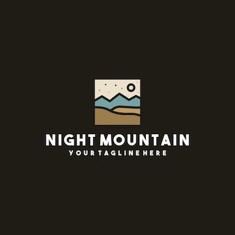 Design creativo del logo della montagna di notte