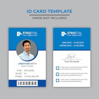 Design creativo della carta d'identità blu