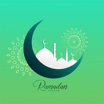 Design creativo della luna e della moschea di ramadan kareem