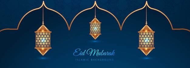 Design creativo di banner islamico eid mubarak