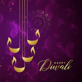 Design creativo dorato di diya di diwali su fondo brillante porpora