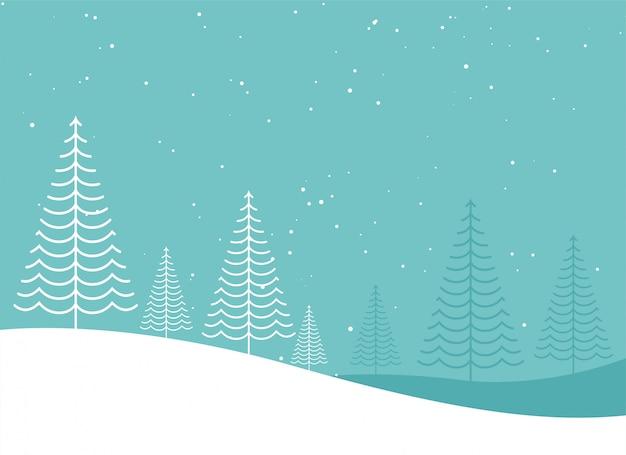 Design creativo minimal inverno albero di natale lanscape