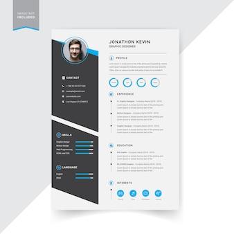Design creativo modello di resume moderno