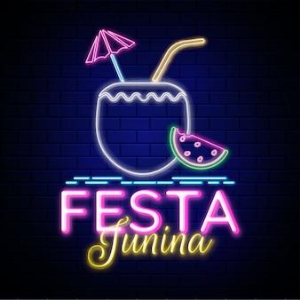 Design creativo per festa junina party, effetto neon