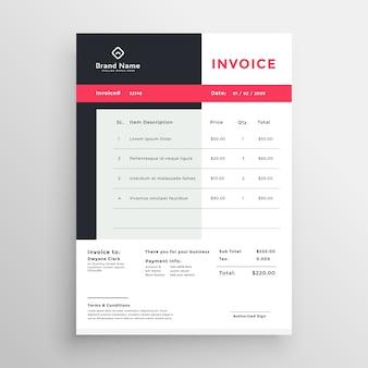 Design creativo temaplate fattura per il tuo business