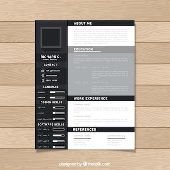 Design cv nero e grigio