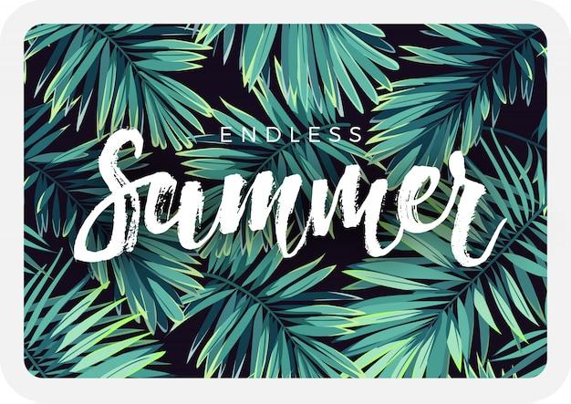 Design da cartolina tropicale scuro con piante esotiche e scritte. sfondo tropicale con foglie di palma verde fenice.