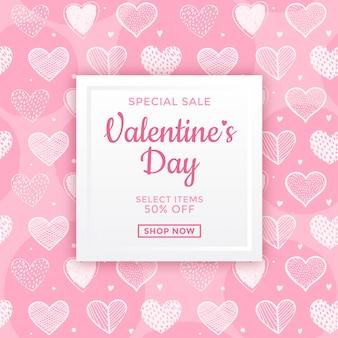 Design degli annunci di vendita di san valentino rosa
