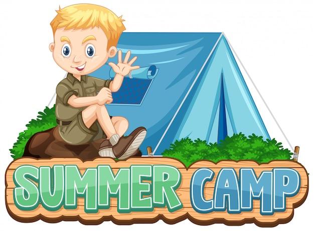 Design dei caratteri per il campo estivo con ragazzo carino al parco