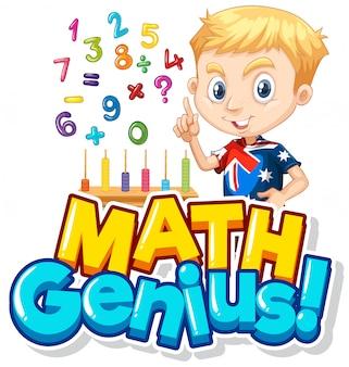 Design dei caratteri per il genio della matematica con ragazzo e numeri