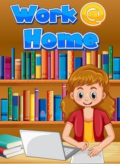 Design dei caratteri per il lavoro da casa con la donna che lavora alla scrivania