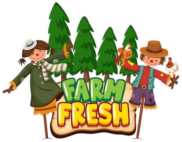 Design dei caratteri per la fattoria fresca con due spaventapasseri