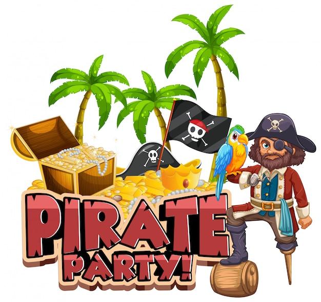 Design dei caratteri per la festa dei pirati di parole con la caccia al tesoro e ai pirati