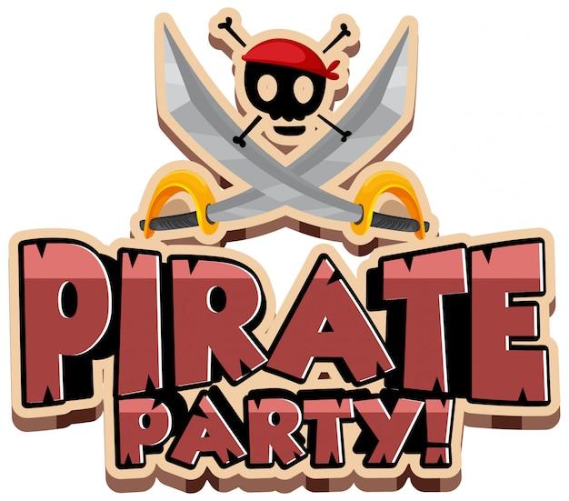 Design dei caratteri per la festa dei pirati di parole con spade e teschio