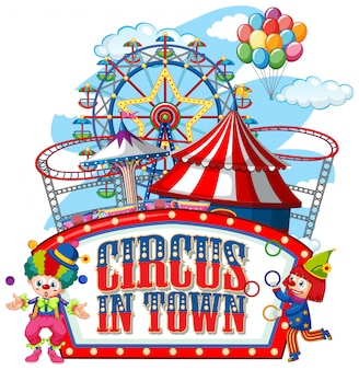 Design dei caratteri per la parola circo in città con i pagliacci nel circo