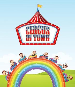 Design dei caratteri per la parola circo in città con le scimmie sul giro sopra l'arcobaleno