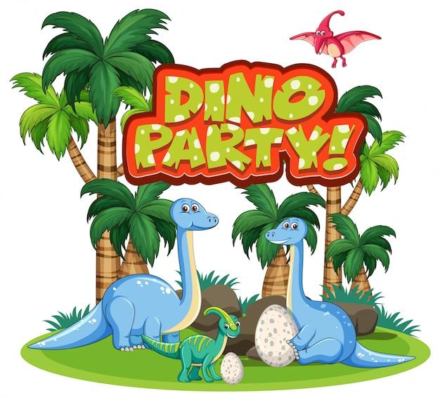 Design dei caratteri per la parola dino party con i dinosauri nella giungla