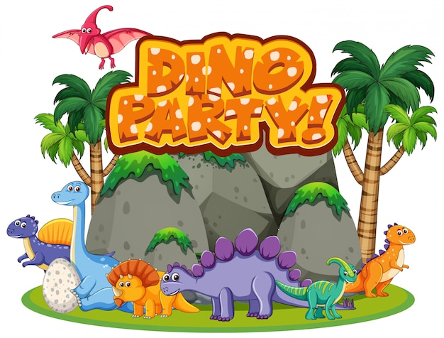 Design dei caratteri per la parola dino party con molti dinosauri nella foresta