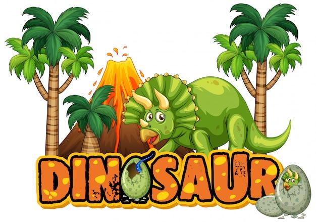 Design dei caratteri per la parola dinosauro con triceratopo nella foresta