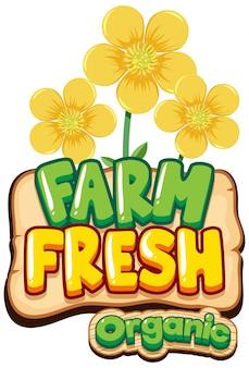 Design dei caratteri per la parola fattoria fresca con fiori gialli
