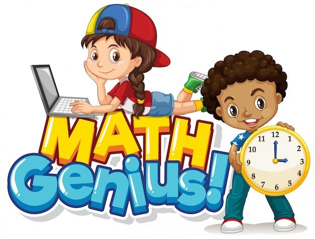 Design dei caratteri per la parola genio della matematica con due studenti