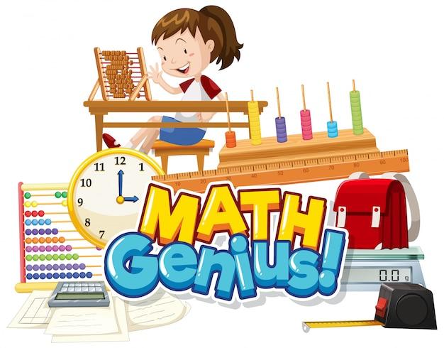 Design dei caratteri per la parola genio della matematica con oggetto ragazza e scuola