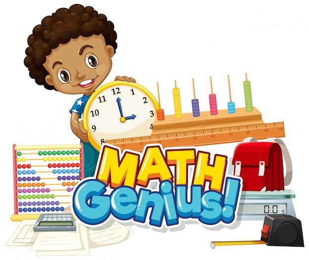 Design dei caratteri per la parola genio della matematica con ragazzo felice