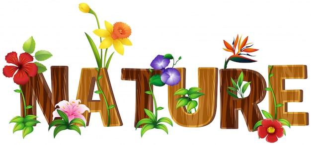 Design dei caratteri per la parola natura con diversi tipi di fiori