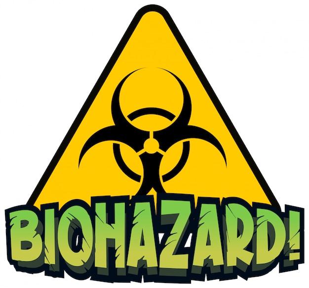 Design dei caratteri per la parola rischio biologico con cartello giallo