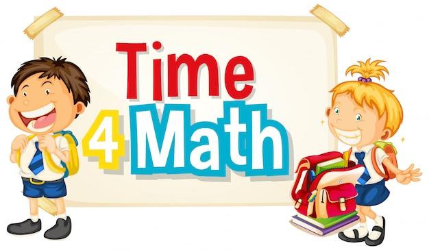 Design dei caratteri per la parola tempo 4 matematica con due studenti felici