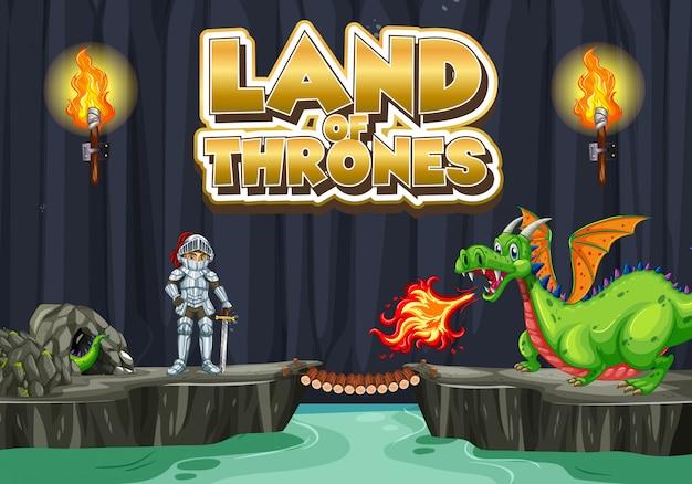 Design dei caratteri per la parola terra di troni con re